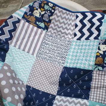 Nautical Baby quilt,grey,navy,teal,aqua,Patchwork crib quilt,baby boy or girl bedding,anchors,whales,chevron,ropes,modern,Whale Watching