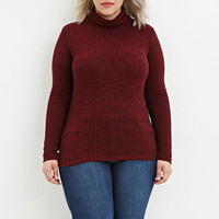 Plus Size Marled Turtleneck Top