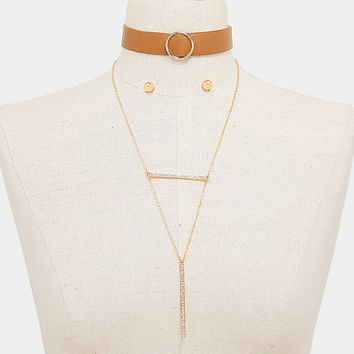 2 PC Brown Leather Choker & Gold Crystal Rhinestone Bar Necklace and Earrings Set