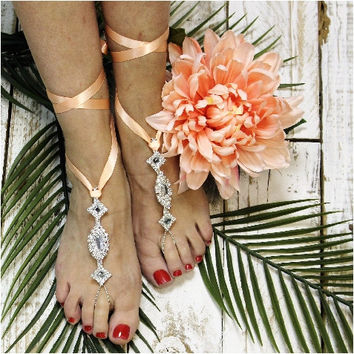 ENCHANTED wedding barefoot sandals -  peach