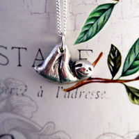 SLOTH smiling in solid fine silver - handmade animal jewelry