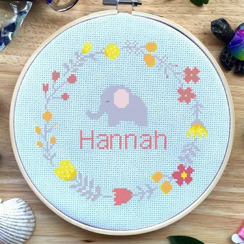 Custom Baby Name Elephant Cross Stitch Kit, Nursery Cross Stitch