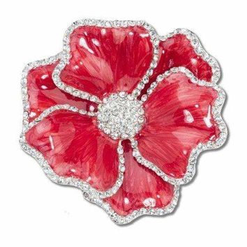 Red Flower Napkin Ring with Crystal Border  (Set of 4)