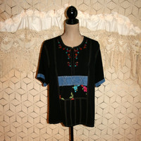 Black Embroidered Tunic Top Short Sleeve Top Summer Top Oversize Top Loose Fit Top Casual Top Napa Valley XL 1X 2X Women Plus Size Clothing