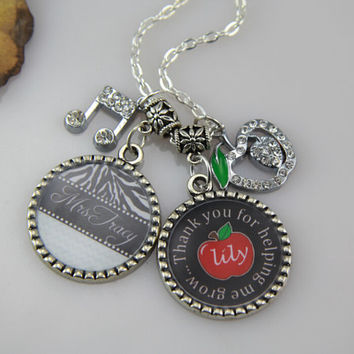 Teachers Jewelry-Necklace for Teacher, Red Apple .DIY Names,Leopard,Bottle Cap Teachers Necklace