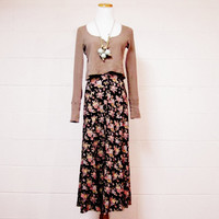 SALE /// 90s Grunge Floral Long Skirt Black & by KIPPvintage
