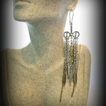 Fearther earring-very long feather earring-long feather earring-dangle earring-ftribal earring-chain earring-punk earring-steampunk earring