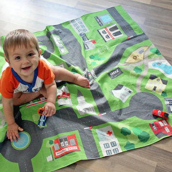 Kids Car Play Mat - Ready to Ship - Map Print Backing | Full Size Car Mat | Car Floor Mat