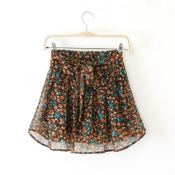 Floral Print Elastic High Waist Mini A-line Pleated Skirt