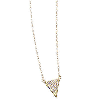 Skyfall cz Covered Triangle Necklace