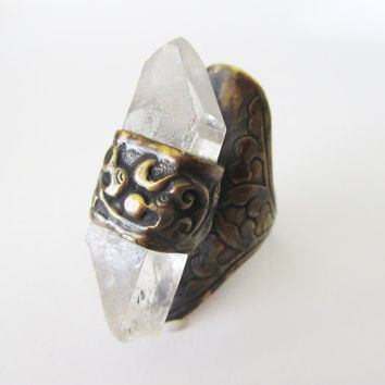 Raw Crystal Quartz Ring - Ornate Adjustable Rustic Antique Brass Ring