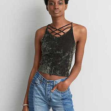 AEO First Essentials Velvet Crop Cami, True Black