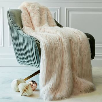 Faux Fur High Low Throw