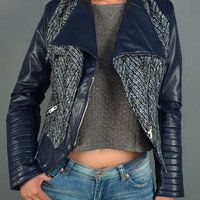 Tweed Leather Moto Jacket