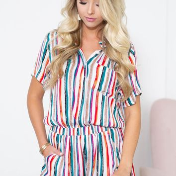Front Pocket Striped Collar Romper
