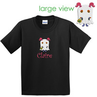 Monogrammed T shirt Personalized Embroidered HALLOWEEN GHOST T Shirt Black White Monster Spooky Ghostie Girl Boy