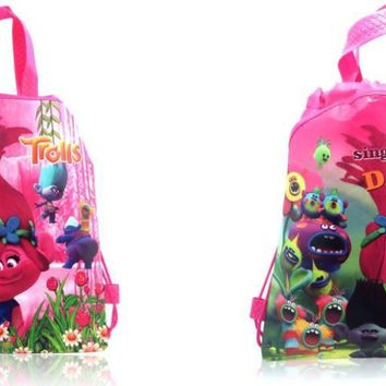Novelty 12PCS Trolls Cartoon Drawstring Backpack Bags,Non-Woven Fabric Multipurpose Bags 34*27cm Kids School Party Bags