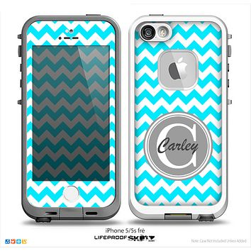 The Turquoise & White Chevron Monogram Name Script Skin Gray v1 Skin for the iPhone 5-5s Fre LifeProof Case