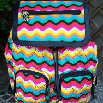 BETSEY JOHNSON Wavy Chevron Backpack Designer Book Bag NEW