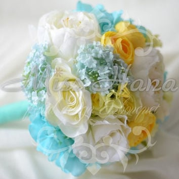 Tiffany blue and yellow hydrangea and peony Silk Bride Bouquet Wrapped In Satin Ribbon Silk Arrangement Rustic Chic Romantic Elegant