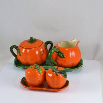 Maruhon Tomato Pumpkin Ware - Creamer Sugar Salt Pepper + Trays - Occupied Japan - Vintage Kitsch - 7 Piece set