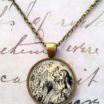 Alice in Wonderland Necklace, Madhatter, White Rabbit, Cheshire Cat, Movies, Steampunk, Whimsical T409