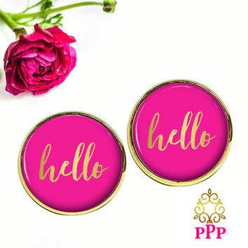 Hello Stud Earrings, Pink Hello Earrings,  Style 641