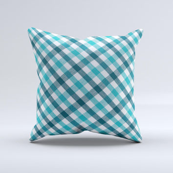 Vintage Blue & Black Plaid  Ink-Fuzed Decorative Throw Pillow