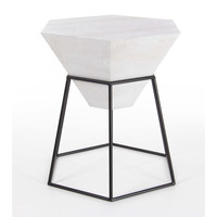 White Wood Metal Hexagonal Accent Table