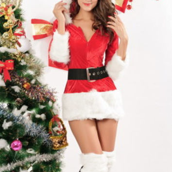 Sexy Erotic Christmas Romantic Leather Red Strap Leather Belt Underwear Lingerie Set _ 2210
