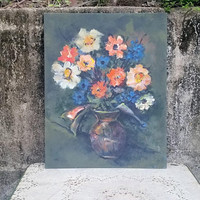 Mid Century Original Oil Abstract Floral Painting Blue Peach Clay Color Daisy Dahlia Signed hhh