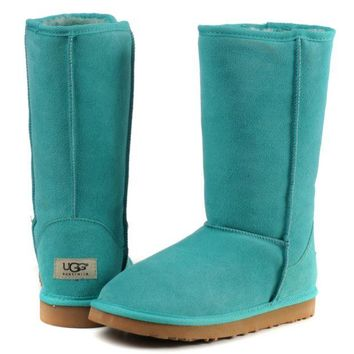 """UGG"" Winter Classic Fashionable Women Warm Wool High Snow Boots Lake  Blue I/A"
