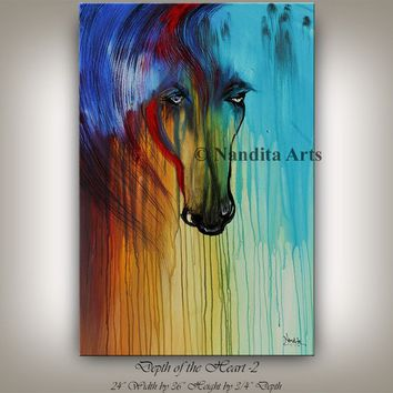 Teal Horse Art, Animal Painting, Horse Animal Art, Horse Painting, Horse Portrait, Abstract Artwork Home Decor, By Nandita
