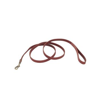 """Circle T Leather Dog Leash Antique Brass 3/4""""x 6' Red"""