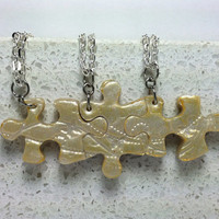 Puzzle Piece Interlocking Necklaces 3 Piece set Butterfly Dots and Swirls Set 226