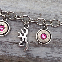 Bullet jewelry. Bullet charm bracelet with browning deer charms