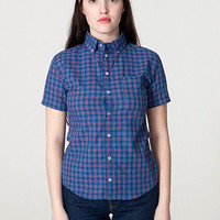 American Apparel - Unisex Plaid Short Sleeve Button-Down with Pocket