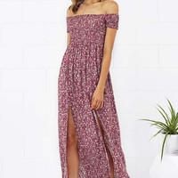 Cupshe Flower Bomb Off the Shoulder Slit Long Dress