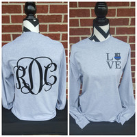 Police Badge Love Long Sleeve Shirt-Vine Monogram On Back. Police Wife. Police Girlfriend. Police Officer. Police Shirt. Thin Blue Line.