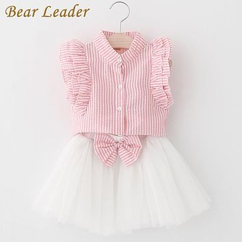 Girls Dress Cute Princess Dresses Summer Style Pink Striped Sleeveless Shirt+Mesh Dress for Girls Clothes