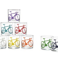 BICYCLE GLASSES - SET OF 8 | cycle, cycling, rainbow, tumbler, lowball, double-old-fashioned | UncommonGoods
