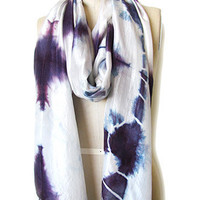Handmade Organic and Naturally Dyed Scarf - Diamond Tie Dye Silk Scarf Purple