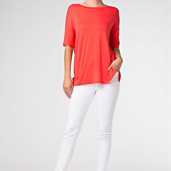 Short Dolman Sleeve Round Neck Top