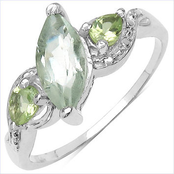 1.32 Carat Genuine Green Amethyst & Peridot .925 Sterling Silver Ring