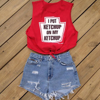 I Put Ketchup On My Ketchup Crop Top Sz Medium by DenimAndStuds