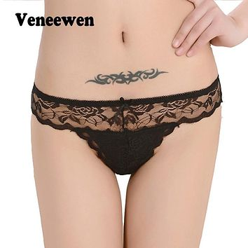 Hot Sale Women Sexy Panties Lace Thongs Ultra-thin mesh Transparent Sexy Bragas Mujer Women's Soft Briefs Bow Panty Underwear