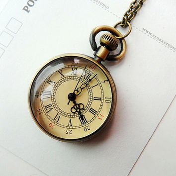 Vintage style Pocket Watch Necklace by CeciliaJewelry on Etsy