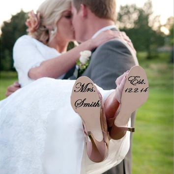 Custom Wedding Shoe Decal Bride or Groom available - wedding Photo Prop, Wedding Decal, Shoe Sticker
