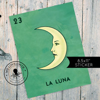"Loteria La Luna Mexican Retro Illustration Art Sticker Vintage 8.5 x 11"" Wall Decor"
