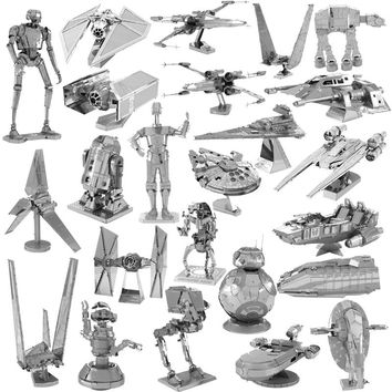 Star Wars 3D Metal Puzzle Shuttle TIE Fighter X Wing BB-8 Robot Silver Speeder Millenium Falcon Model Child Kid Educational Toy